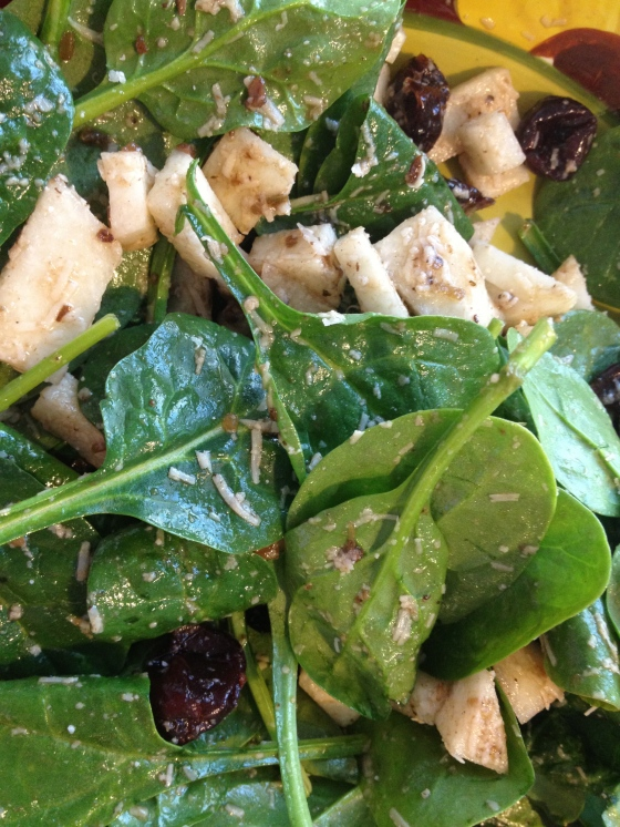 Jicama Cherry Spinach Salad