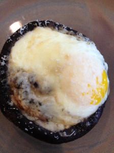 portabella mushroom with hard cooked egg